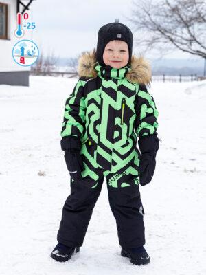 Комбинезон зимний для мальчика Nikastyle 8з0321 салатовый неон
