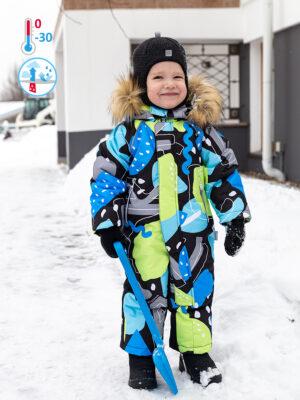 Комбинезон зимний для мальчика Nikastyle 8з1321 голубой/салатовый