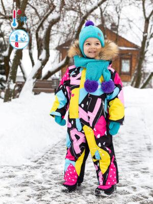 Комбинезон зимний для девочки Nikastyle 8з1421 желтый/розовый