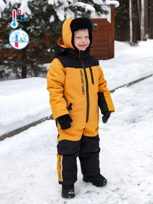 Комбинезон зимний для мальчика Nikastyle 8з1921 горчичный