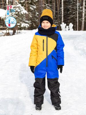 Комбинезон зимний для мальчика Nikastyle 8з3721 синий/горчичный