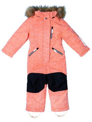 Комбинезон зимний для девочки Nikastyle 8з4221 персиковый неон спереди