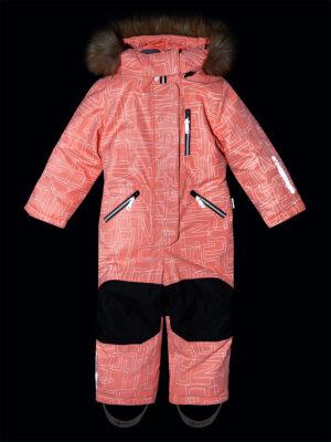 Комбинезон зимний для девочки Nikastyle 8з4221 персиковый неон светоотражение
