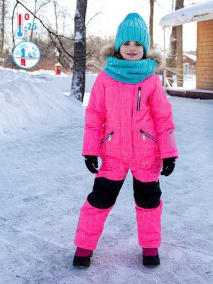 Комбинезон зимний для девочки Nikastyle 8з4221 розовый неон