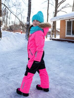 Комбинезон зимний для девочки Nikastyle 8з4221 розовый неон фото