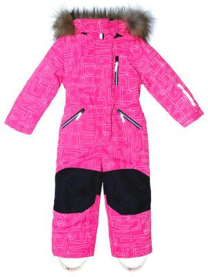 Комбинезон зимний для девочки Nikastyle 8з4221 розовый неон спереди