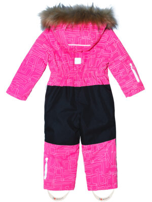Комбинезон зимний для девочки Nikastyle 8з4221 розовый неон сзади