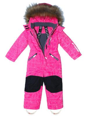 Комбинезон зимний для девочки Nikastyle 8з4221 розовый неон внутри