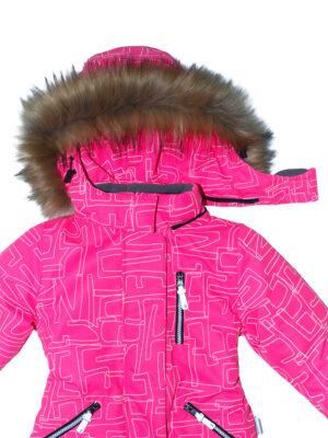 Комбинезон зимний для девочки Nikastyle 8з4221 розовый неон капюшон
