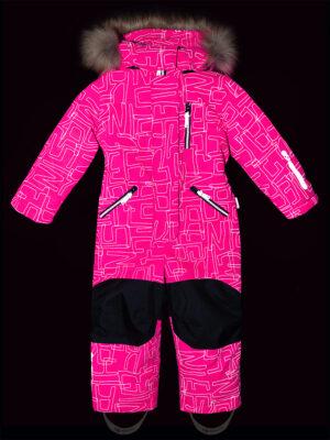 Комбинезон зимний для девочки Nikastyle 8з4221 розовый неон свтоотражение
