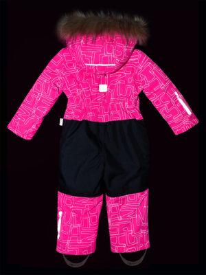 Комбинезон зимний для девочки Nikastyle 8з4221 розовый неон светоотражение 1
