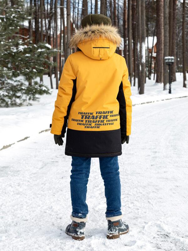 Куртка зимняя для мальчика Nikastyle 4з3321 горчичный фото сзади