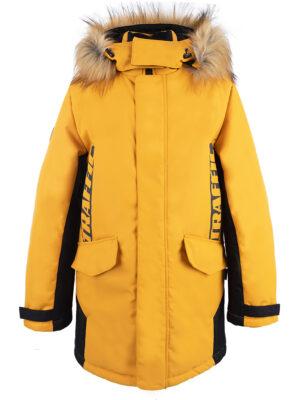 Куртка зимняя для мальчика Nikastyle 4з3321 горчичный вид спереди