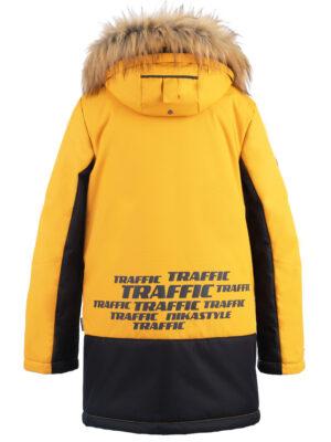 Куртка зимняя для мальчика Nikastyle 4з3321 горчичный вид сзади