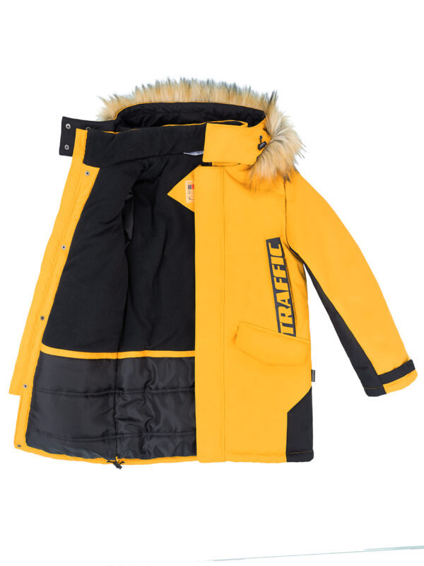 Куртка зимняя для мальчика Nikastyle 4з3321 горчичный внутри