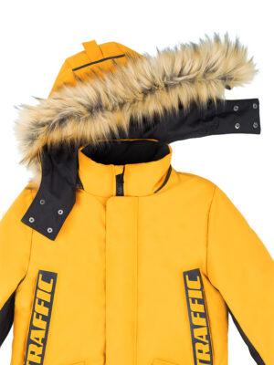 Куртка зимняя для мальчика Nikastyle 4з3321 горчичный капюшон