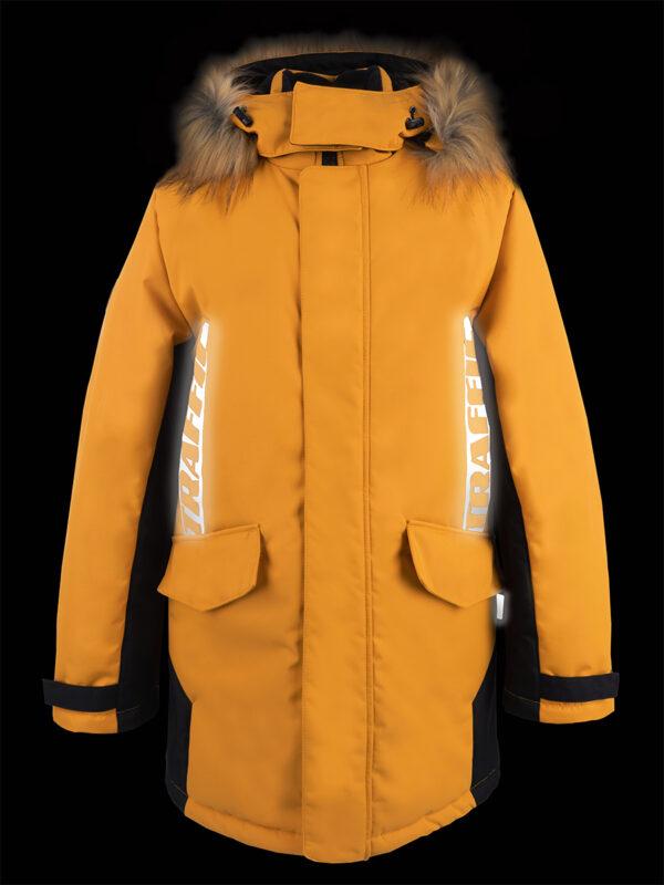 Куртка зимняя для мальчика Nikastyle 4з3321 горчичный светоотражение