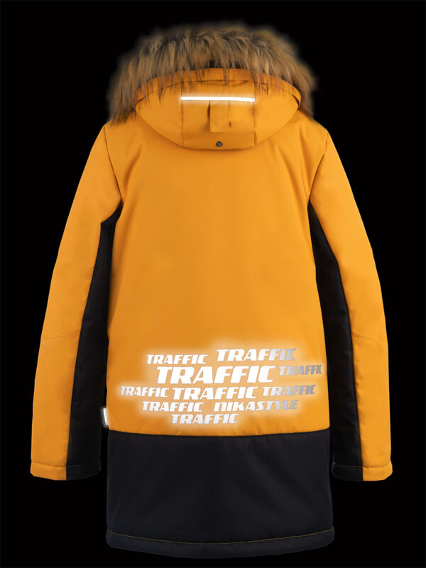 Куртка зимняя для мальчика Nikastyle 4з3321 горчичный светоотражение сзади