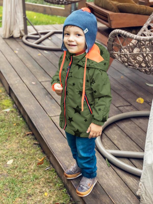 Ветровка для мальчика Nikastyle 4л0920 хаки/черный