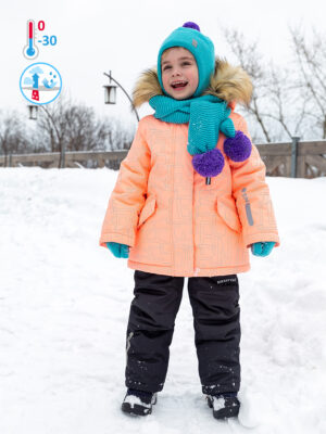 Комплект зимний для девочки Nikastyle 7з4421 персиковый неон