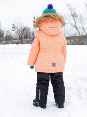 Комплект зимний для девочки Nikastyle 7з4421 персиковый неон фото сзади