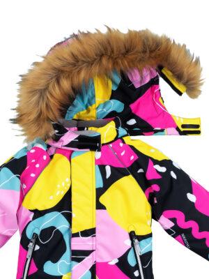 Комбинезон зимний для девочки Nikastyle 8з1421 желтый/розовый детали