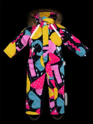 Комбинезон зимний для девочки Nikastyle 8з1421 желтый/розовый светоотражение