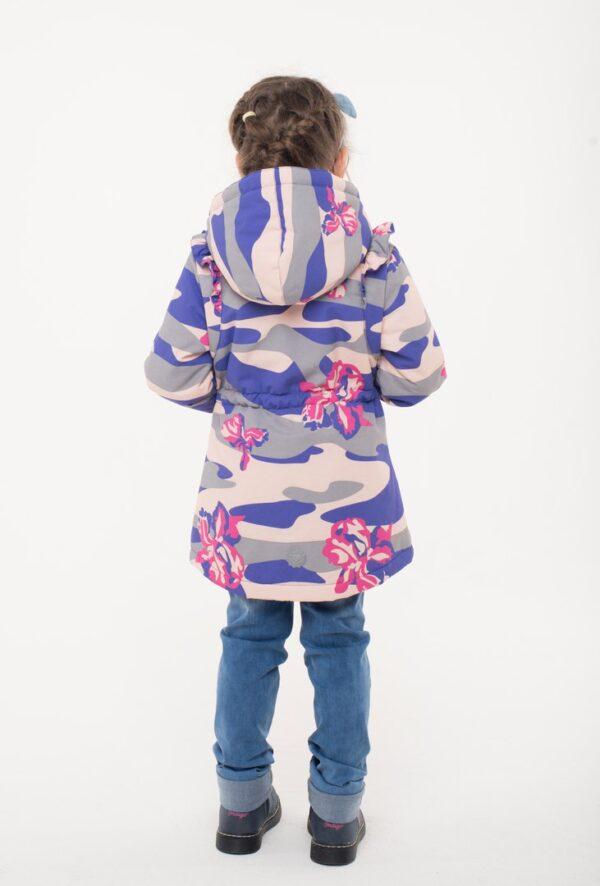 Парка демисезонная для девочки Nikastyle 5м0117 фиолет/крем сзади