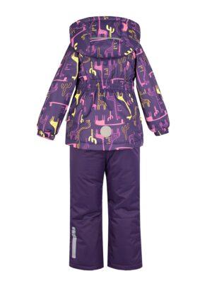 Комплект демисезонный для девочки Nikastyle 7м0620 фиолетовый/розовый вид сзади