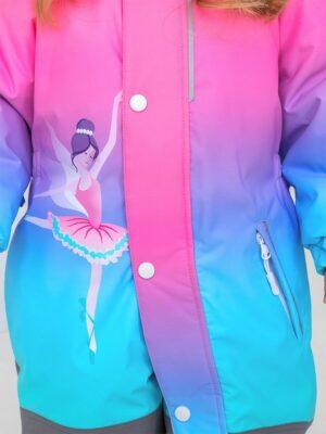 """Комбинезон зимний для девочки UKI kids """"Балерина"""" розовый/мятный детали2"""