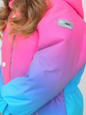 """Комбинезон зимний для девочки UKI kids """"Балерина"""" розовый/мятный детали1"""