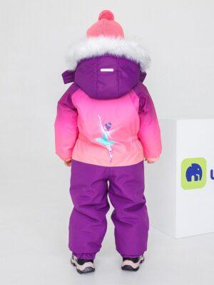"""Комбинезон зимний для девочки UKI kids """"Балерина"""" фиолетовый фото сзади"""