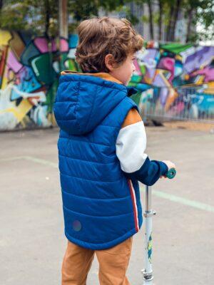 Жилет утепленный для мальчика Nikastyle 9м1720 синий фото сзади
