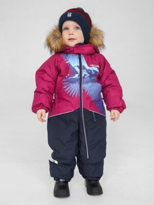 Комбинезон зимний для мальчика UKI kids «Орел» бордовый