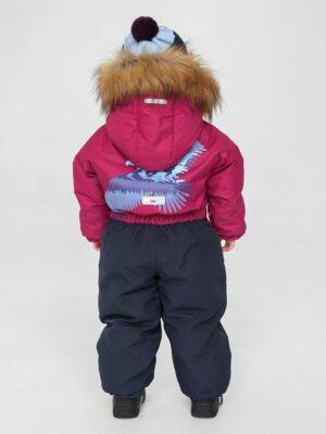 Комбинезон зимний для мальчика UKI kids «Орел» бордовый сзади