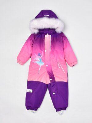 "Комбинезон зимний для девочки UKI kids ""Балерина"" фиолетовый спереди"