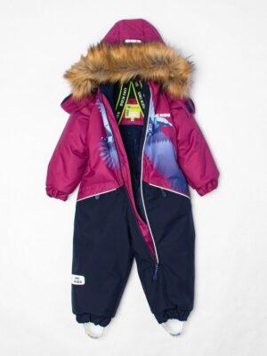Комбинезон зимний для мальчика UKI kids «Орел» бордовый внутри