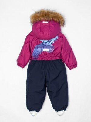 Комбинезон зимний для мальчика UKI kids «Орел» бордовый вид сзади