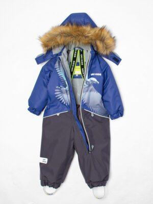 Комбинезон зимний для мальчика UKI kids «Орел» синий внутри