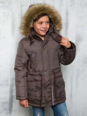Куртка зимняя для мальчика Nikastyle коричневый