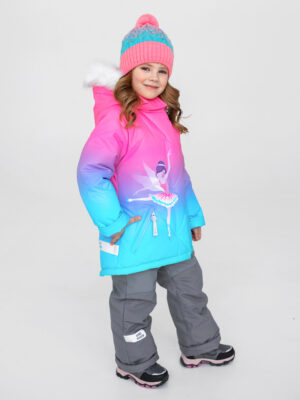 Комплект зимний для девочки UKI kids Балет розовый-голубой 1