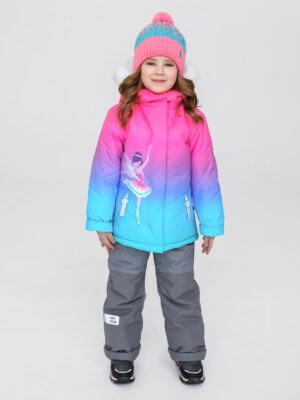 Комплект зимний для девочки UKI kids Балет розовый-голубой