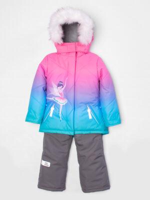 Комплект зимний для девочки UKI kids Балет розовый-голубой 5