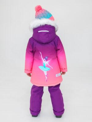 Комплект зимний для девочки UKI kids Балет фиолетовый-коралл 2