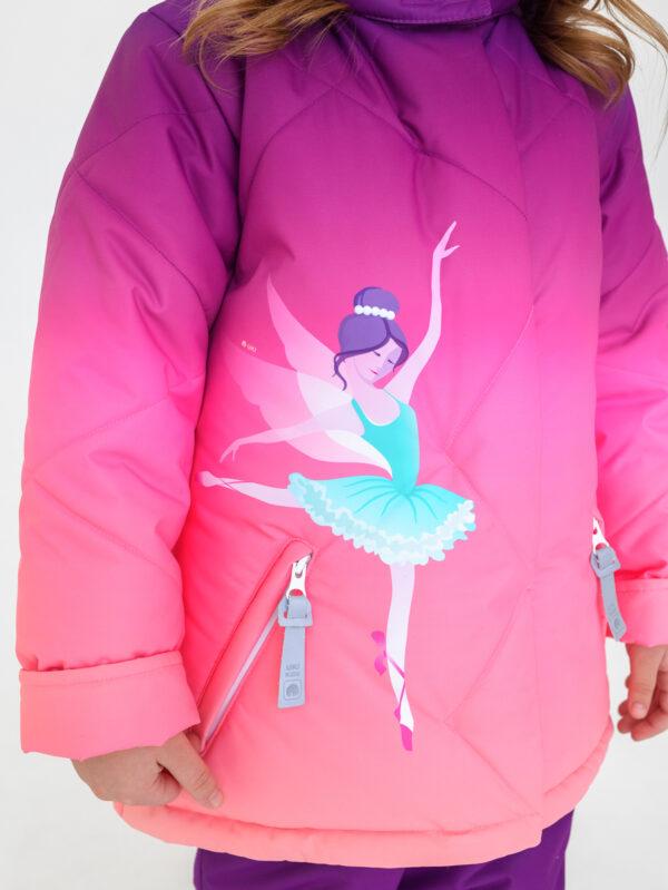 Комплект зимний для девочки UKI kids Балет фиолетовый-коралл 4