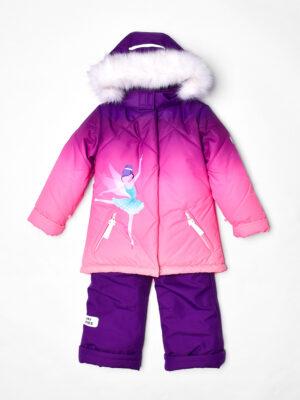 Комплект зимний для девочки UKI kids Балет фиолетовый-коралл 6