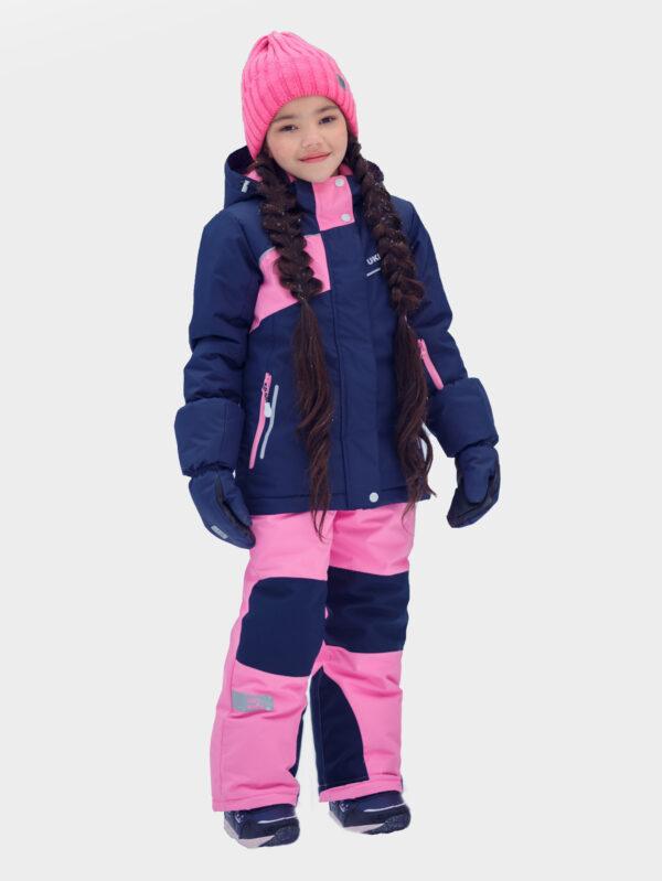 Комплект зимний для девочки UKI kids Сюзанна синий-розовый 1