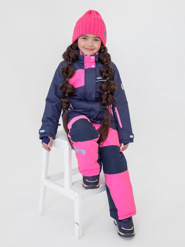 Комплект зимний для девочки UKI kids Сюзанна синий-розовый 2