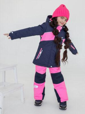 Комплект зимний для девочки UKI kids Сюзанна синий-розовый