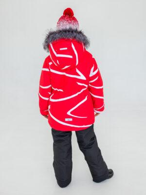 Комплект зимний UKI kids Зиг-заг красный-черный 1